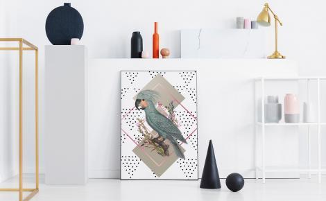 Kakadu palmowa i geometryczna wariacja na plakacie