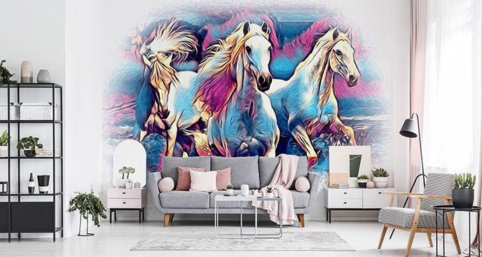 Kolorowa fototapeta konie