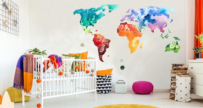 Kolorowa naklejka mapa świata