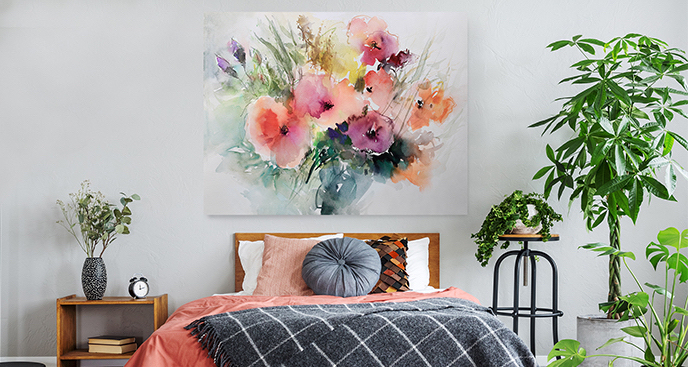 Kolorowy obraz malowany akwarelą