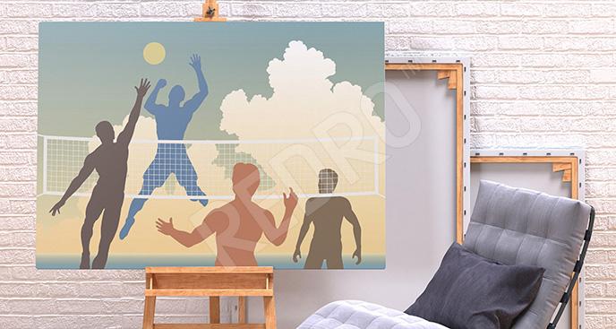 Kolorowy obraz mecz siatkówki