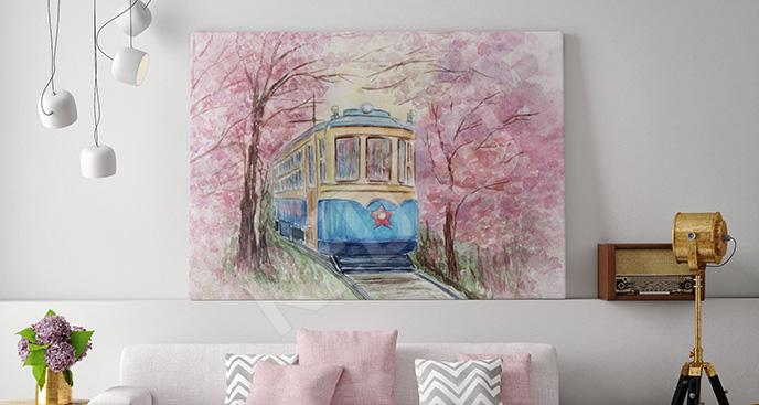 Kolorowy obraz z pociągiem