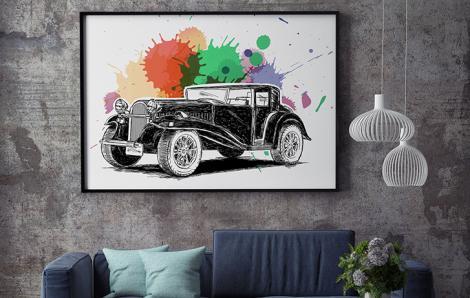 Kolorowy plakat samochód