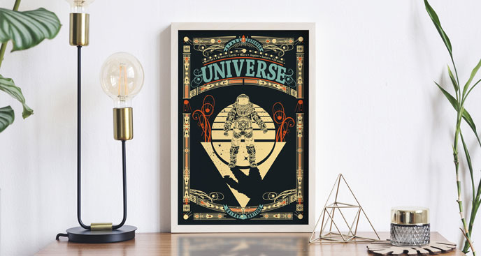 Kosmiczny plakat z astronautą