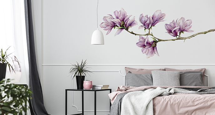 Kwiatowa naklejka do sypialni