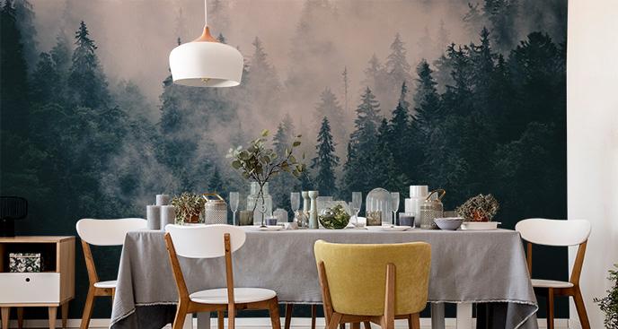 Leśna fototapeta z mgłą