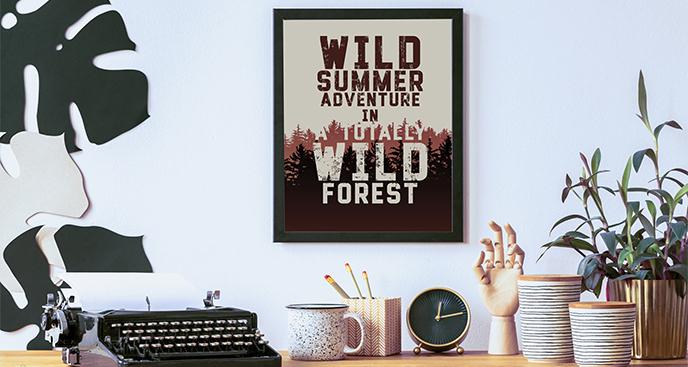 Leśny plakat z napisem