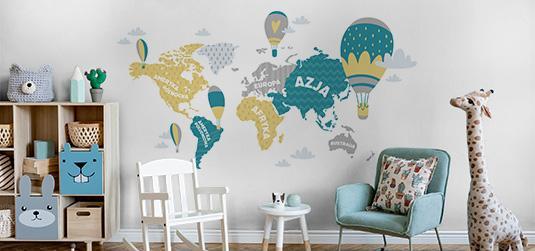 Tapeta mapa świata dla dzieci - pasjonująca lekcja geografii
