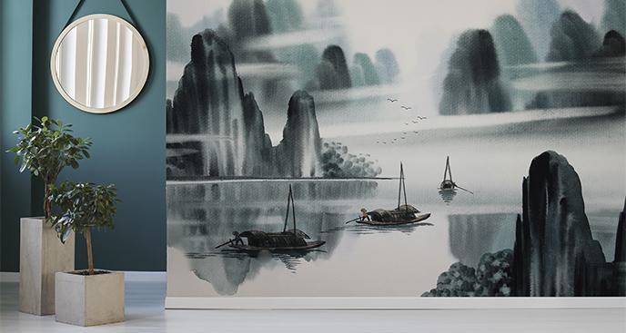 Fototapeta jezioro we mgle