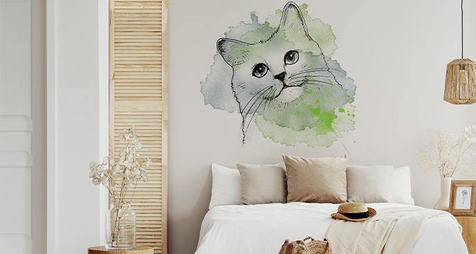 Minimalistyczna naklejka kot