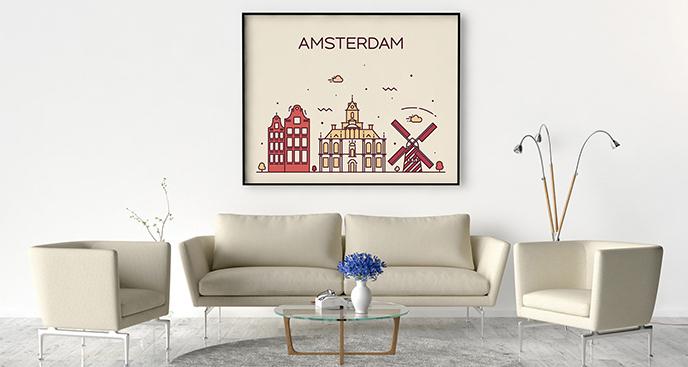 Minimalistyczny plakat Amsterdam