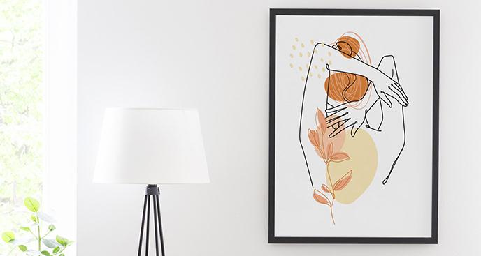 Minimalistyczny plakat sylwetka kobiety