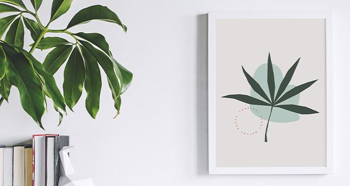 Minimalistyczny plakat z liściem
