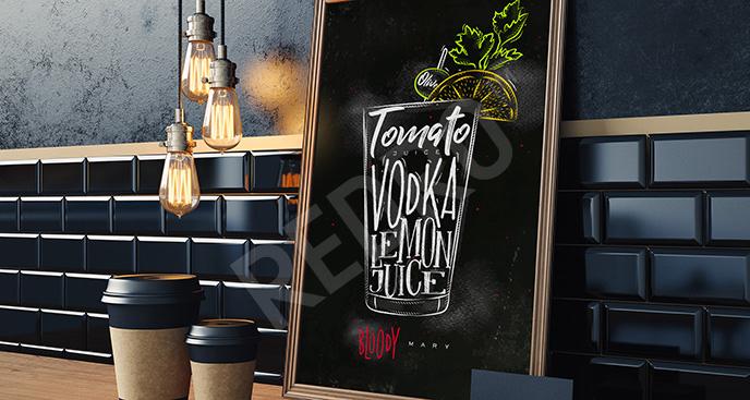 Minimalistyczny plakat z napojem