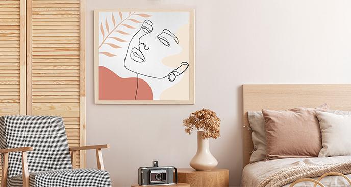 Minimalistyczny plakat z portretem kobiety