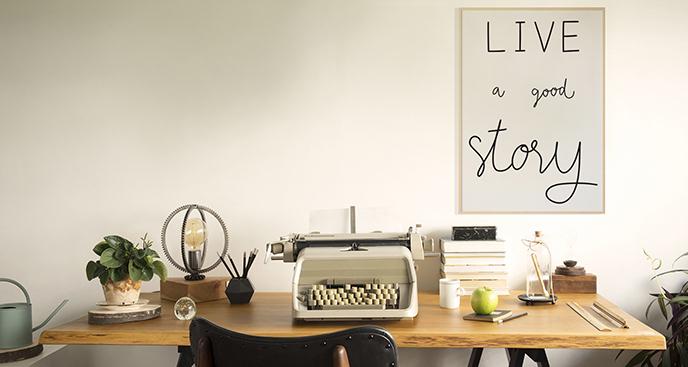 Minimalistyczny plakat ze sloganem