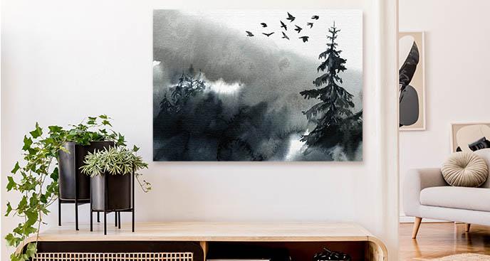 Monochromatyczny obraz drzewa