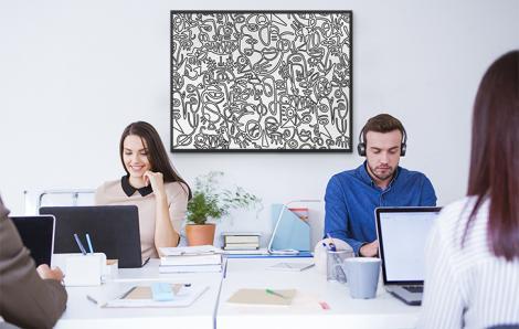 Monochromatyczny plakat do biura