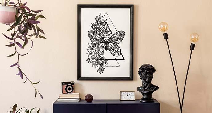 Monochromatyczny plakat motyl