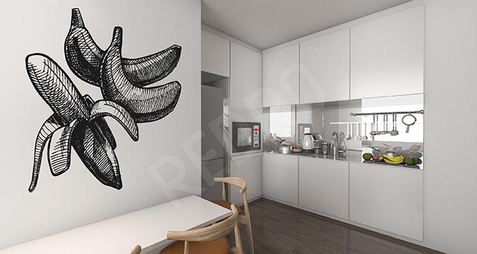 Naklejka banany czarno-białe