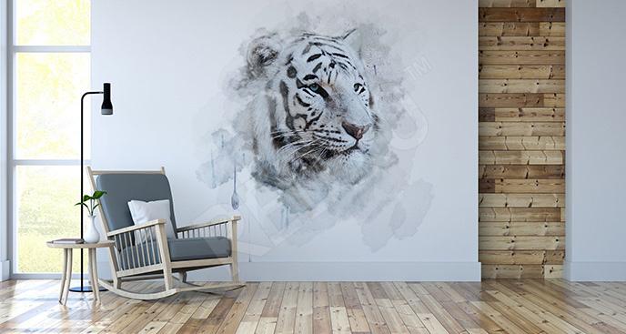 Naklejka biały tygrys