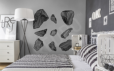 Naklejka czarne kamienie do sypialni