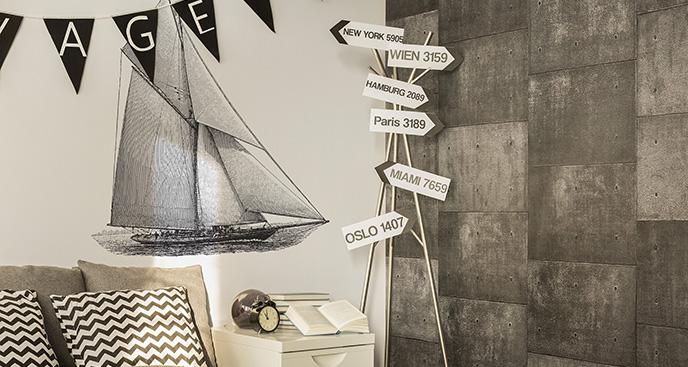 Naklejka czarno-biała łódź żaglowa