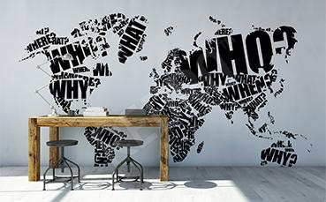 Naklejka czarno-biała mapa z napisami