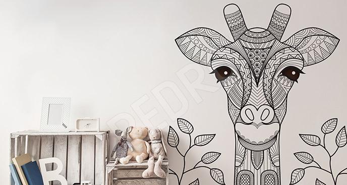 Naklejka czarno-biała żyrafa