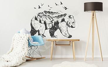 Naklejka czarno-biały niedźwiedź