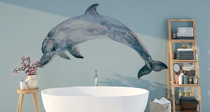Naklejka delfin - akwarela