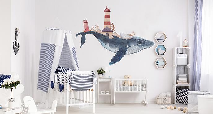 Naklejka delfin i latarnia morska