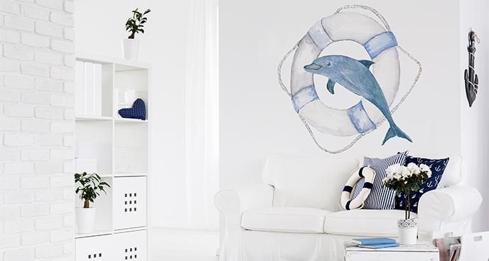 Naklejka delfin w stylu marynistycznym