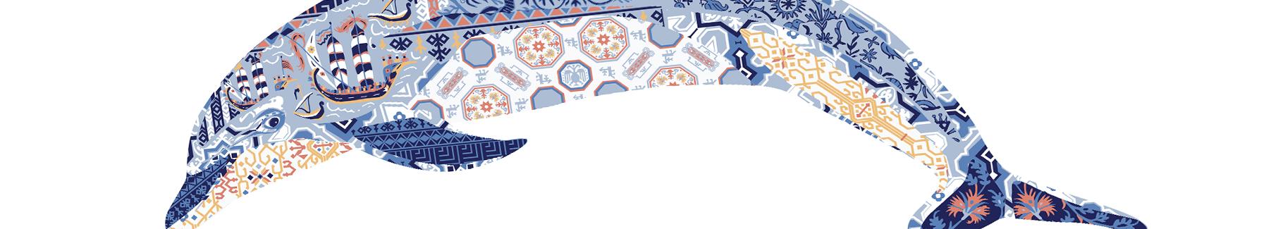 Naklejka delfin z ornamentowym wzorem