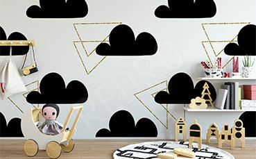 Naklejka dla dzieci w chmury i trójkąty