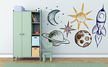 Naklejka dla dziecka kosmiczny wzór