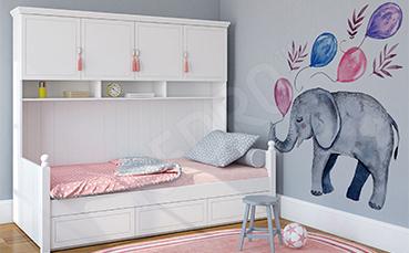 Naklejka dla dziewczynki słoń z balonami