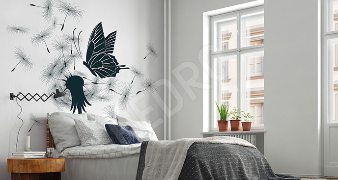 Naklejka dmuchawiec i motyl