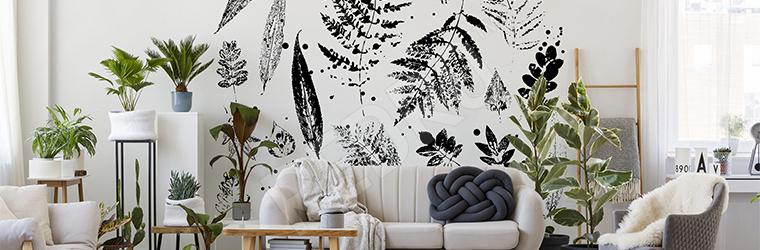 Naklejka do salonu czarno-białe liście