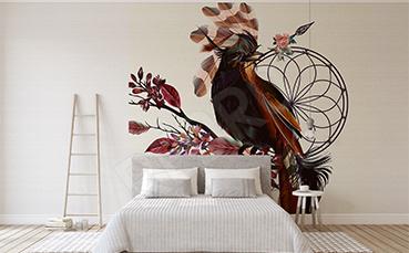 Naklejka do sypialni barwny ptak