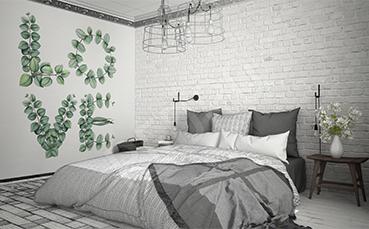Naklejka do sypialni liściasty napis