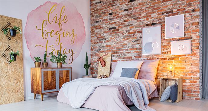 Naklejka do sypialni z motywującym napisem