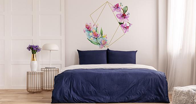 Naklejka geometryczna z kwiatami