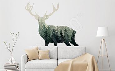 Naklejka jeleń do skandynawskiego wnętrza