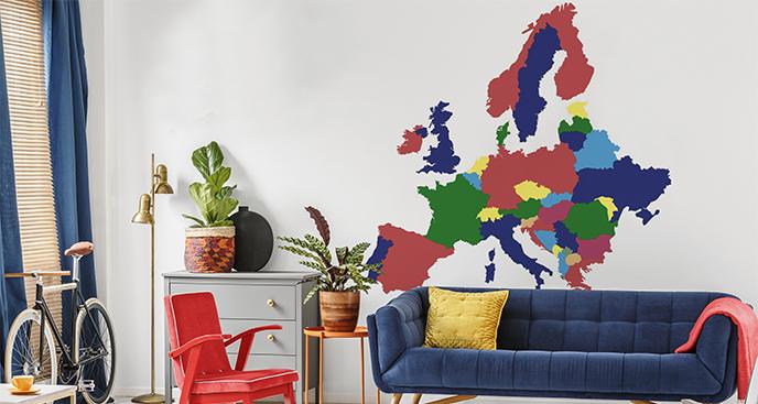 Naklejka kolorowa mapa Europy