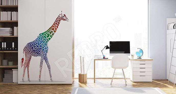 Naklejka kolorowa żyrafa