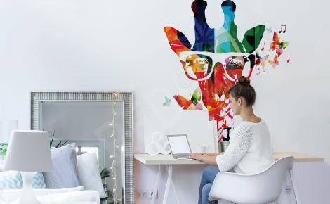 Naklejka kolorowa żyrafa do salonu