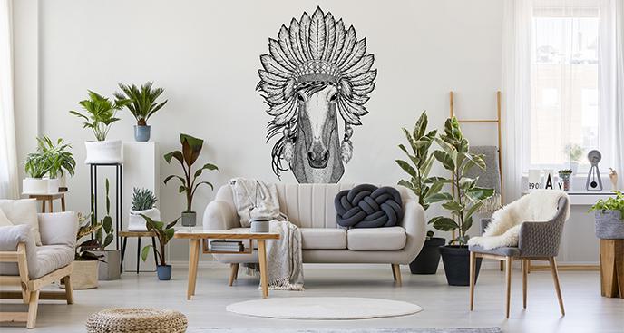 Naklejka koń w pióropuszu