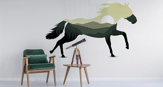 Naklejka koń z krajobrazem