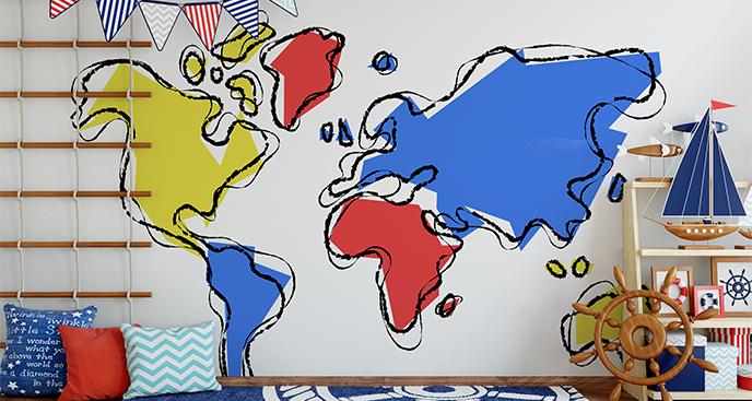 Naklejka kontynenty dla dzieci